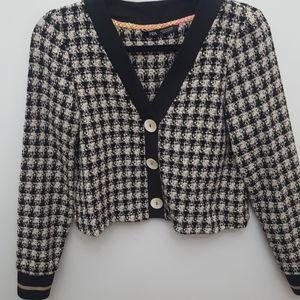 ZARA Tweed Long Sleeve Crop V-neck Top